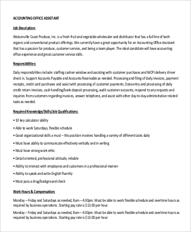 accounting office assistant job description. Resume Example. Resume CV Cover Letter