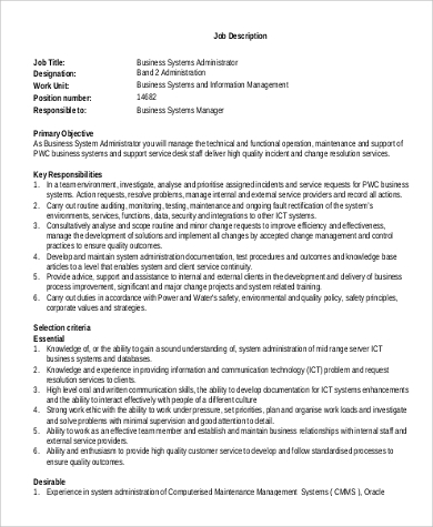 sample business administration job description 9 examples in