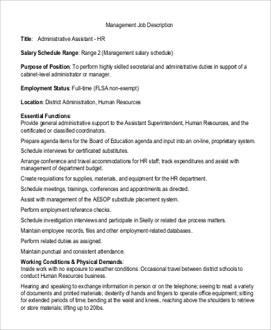 Sample Business Administration Job Description   Examples In
