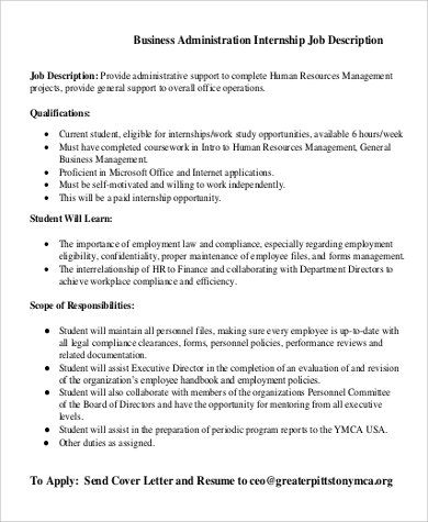 Sample Business Administration Job Description   Examples In Pdf
