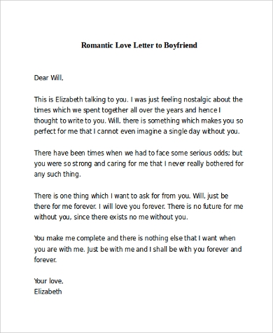 Sample Romantic Love Letter 8 Examples in Word