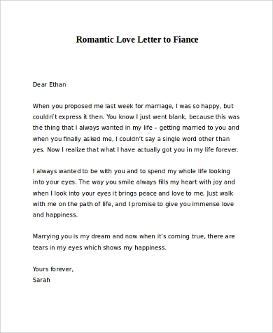 free sample romantic love letter to fiance