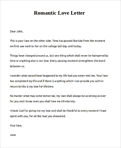 short romantic love letter