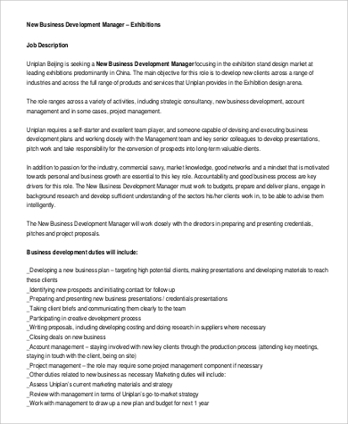 new business development manager job description