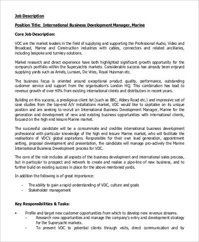 Attractive International Business Development Manager Job Description