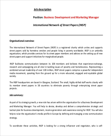 business development marketing manager job description