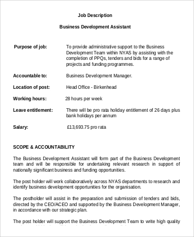 assistant business development manager job description