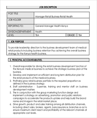 Sample Business Development Manager Job Description - 9+ Examples ...