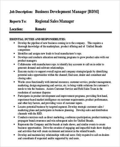 regional business development manager job description