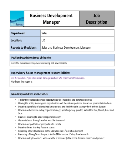 business development manager job description example