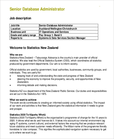 Sample Database Administrator Job Description   Examples In Pdf