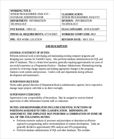 Sample Database Administrator Job Description   Examples In Pdf Word