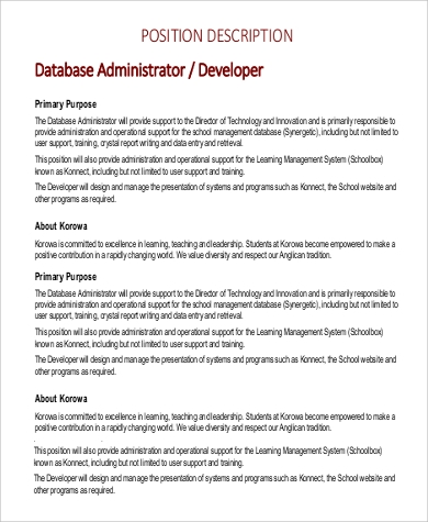 database administrator developer job description