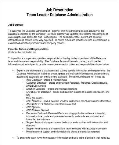 job description for team leader database administration
