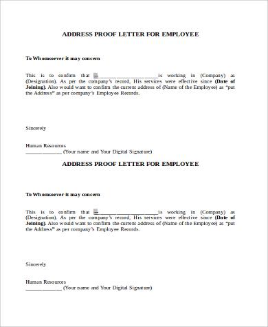 employee address verification letter