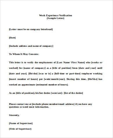 letter for employment verification