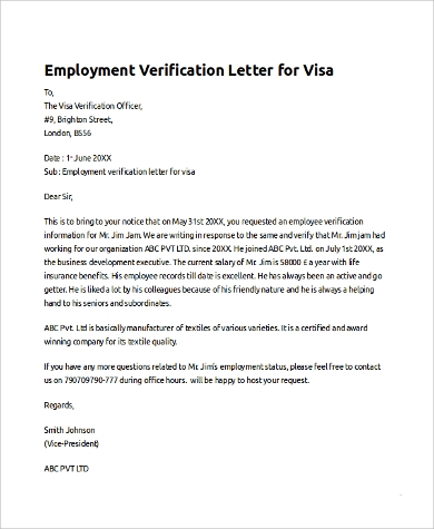 Sample Employee Verification Letter - 10+ Examples In Pdf, Word