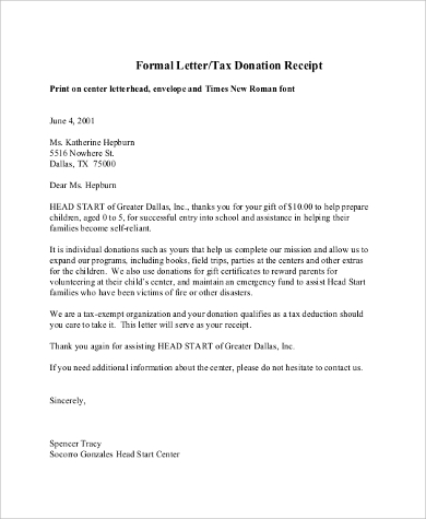 Donation Letter Sample   Examples In Pdf Word