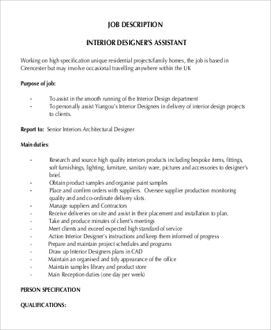 Sample Interior Designer Job Description   Examples In Pdf Word