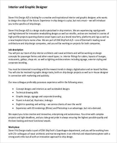 Interior Designer Job Description Pdf