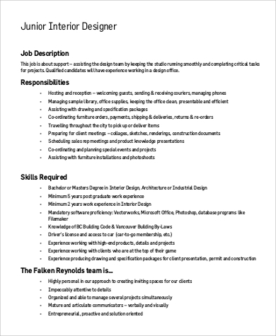 Sample interior designer job description 9 examples in for Interior design jobs england