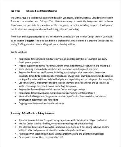Intermediate Interior Designer Job Description