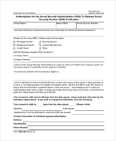 Social Security Administration Form   Examples In Pdf Word