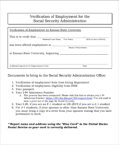 social security administration verification form