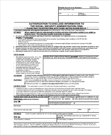social security administration information form