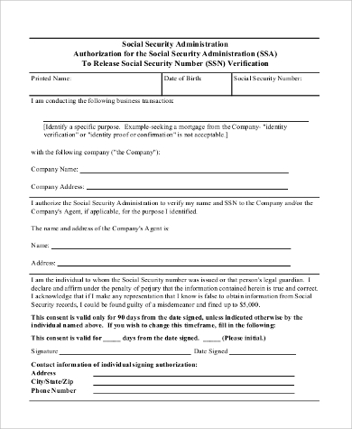 Sample Social Security Request Forms