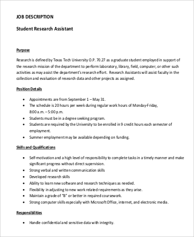 research assistant duties Graduate teaching assistants must be enrolled in a graduate school program graduate assistants who primarily perform non-teaching duties, such as research.