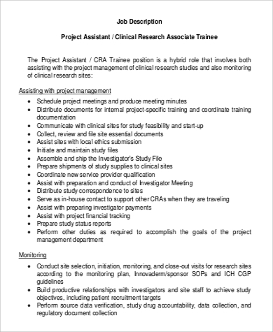 Sample Research Assistant Job Description 10 Examples
