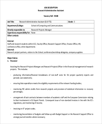 Sample Research Assistant Job Description   Examples In Pdf Word