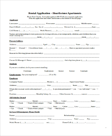 rental application for apartment