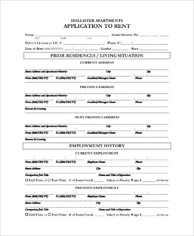 Sample Apartment Rental Application   Examples In Pdf Word