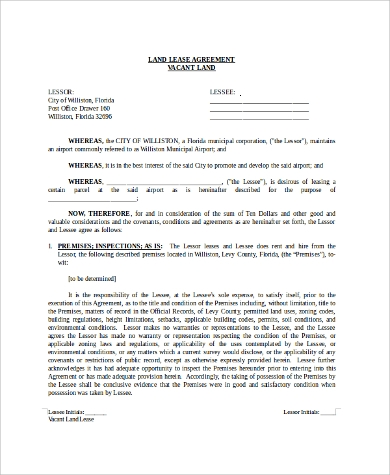 Building U0026 Land Lease Agreement Form Sample