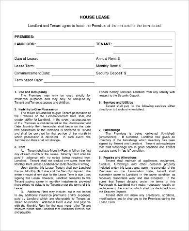 Sample Free Lease Agreement Form   Examples In Pdf Word
