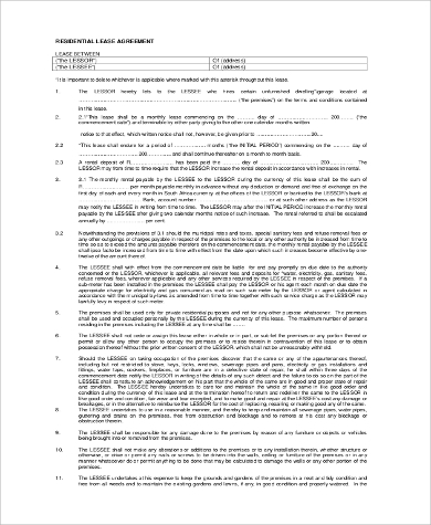 free residential lease agreement form1