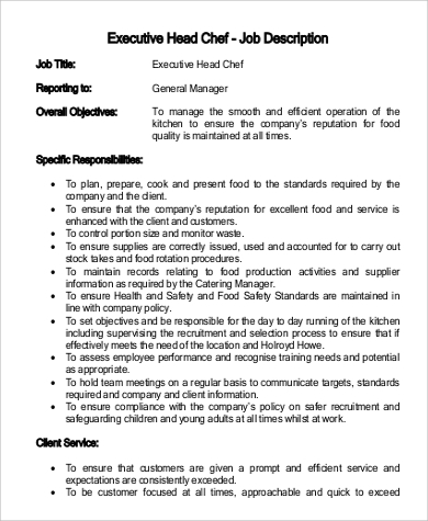 Sample Executive Chef Job Description   Examples In Pdf Word