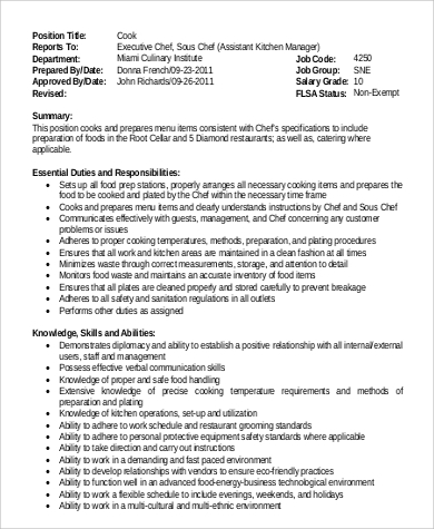 Sample Executive Chef Job Description - 9+ Examples in PDF, Word