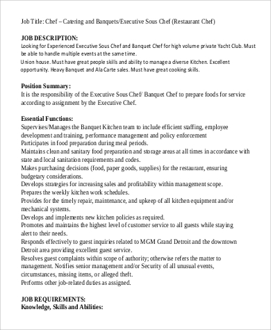 Banquet Job Description. Banquet Sous Chef Job Description Free