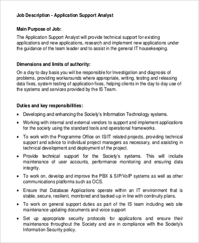 Sample System Analyst Job Description   Examples In Word Pdf