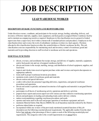 Wonderful Lead Warehouse Worker Job Description