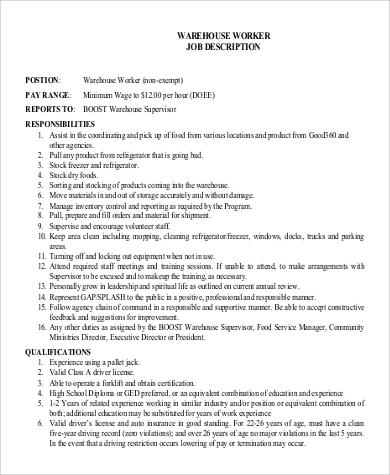 warehouse supervisor worker job description