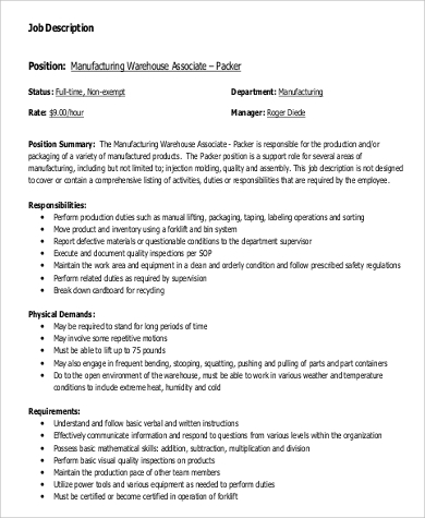 sample warehouse worker job description 9 examples in word pdf - Production Associate Job Description