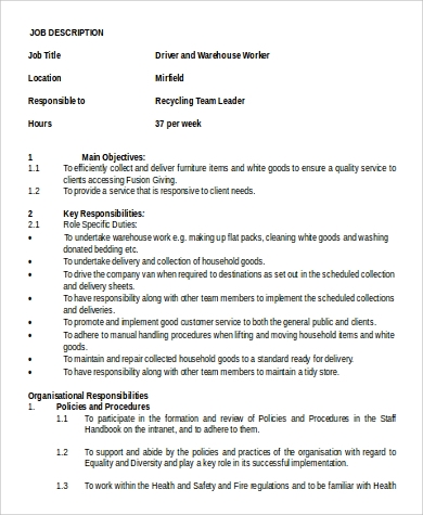 Sample Warehouse Worker Job Description - 9+ Examples In Word, Pdf