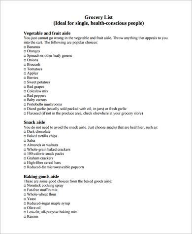 printable household shopping list