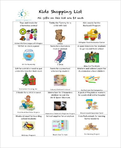 printable kids shopping list