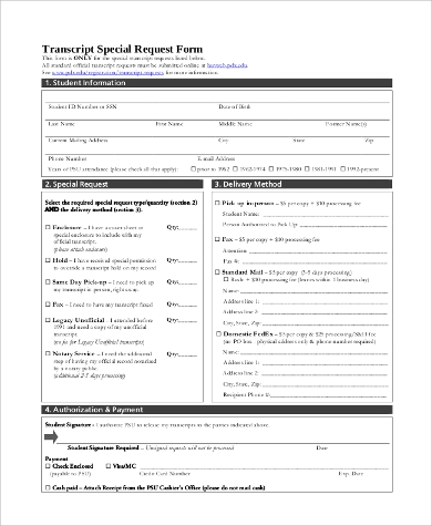 transcript special request form