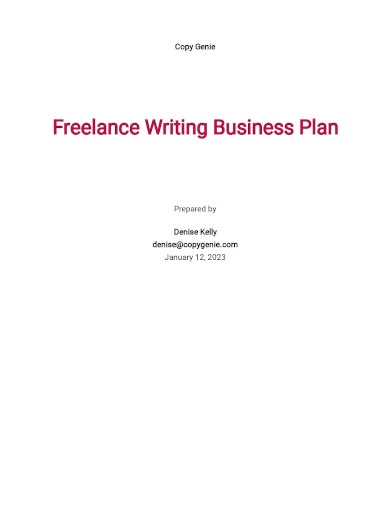 freelance writing business plan template